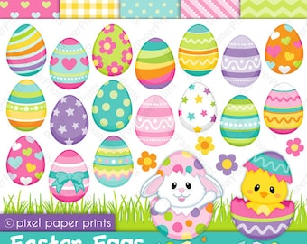 Easter Eggs - Clip art and Digital paper set