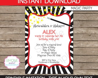 Magic Invitation Template - Birthday Party - INSTANT DOWNLOAD with EDITABLE text - you personalize at home