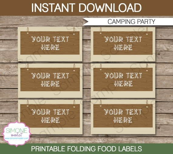 Camping Party Food Label Or Food Buffet Tag By SIMONEmadeit