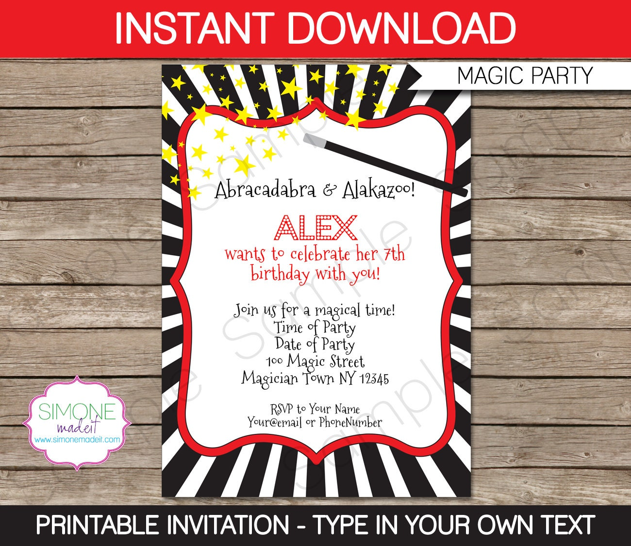 magic invitation template birthday party instant download