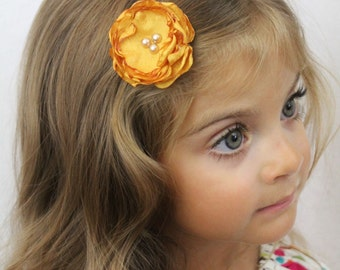 Small Golden Yellow Flower Hair Clip - GoldYellow Layered Flower with Pearls - Fall Wedding Flower Hair Bow