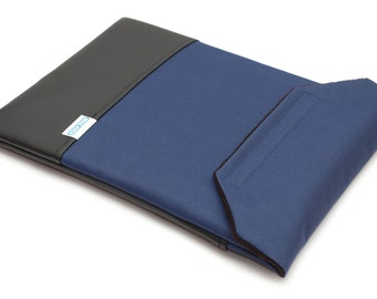 MacBook Pro 13 Sleeve with Pocket - Navy Blue Canvas and Black Faux Leather