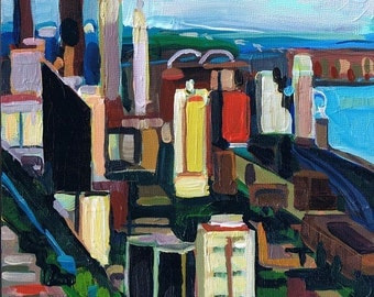 Original Painting- Your City or State, Custom Order Art, Cityscape Landscape