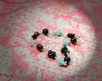 Protection Bracelet, Black Tourmaline,Goldsheen Obsidian Amazonite Gemstone, Reiki Bracelet, Reiki Jewelry, Yoga bracelet, yoga jewelry