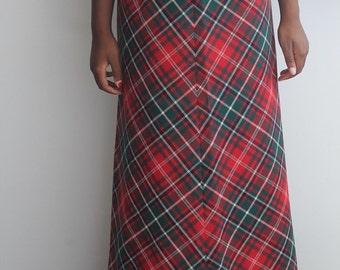 Vintage 90's Plaid Tartan Schoolgirl Maxi Skirt sz Small