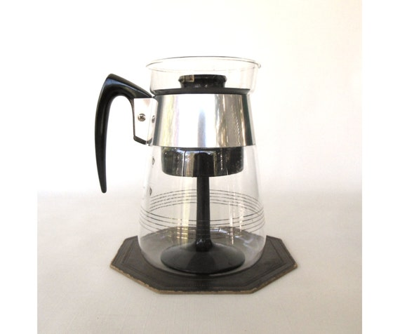 Corning Percolator Coffee Pot Clear Glass Carafe Bakelite