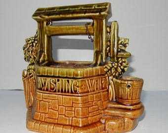 McCoy WISHING WELL-vintage McCoy collectible ceramic planter- McCoy pottery plant container-mid century glazed wishing well -