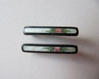 Lingerie pin set, Art Deco enamel guilloche sterling silver brooch pin, Edwardian fine silver jewelry, vintage tiny bar pins, enamel brooch