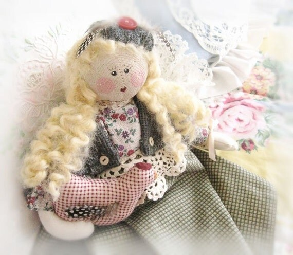 OOAK Art Doll Cloth Doll JAIME and Hen 16 inch Handmade CharlotteStyle Signed