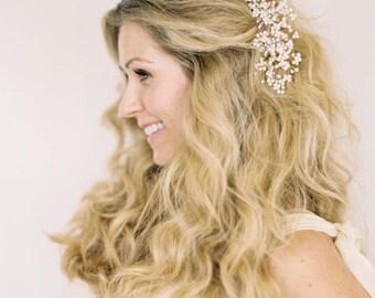 Pearl Comb, Bridal Comb, Bridal Headdress, Bridal Hair Comb, Pearl Hair Piece, Silver, Gold, Rose Gold, Pearl Head Piece, Hair Vine, Garland