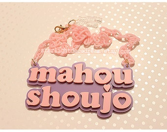 Pink and Lavender Mahou Shoujo Pastel Acrylic Necklace for Cute Magical Girl Kawaii Fashion