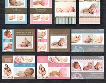 INSTANT DOWNLOAD - Baby Boy and Girl Birth Announcement Template Pack 1 - 10PSD