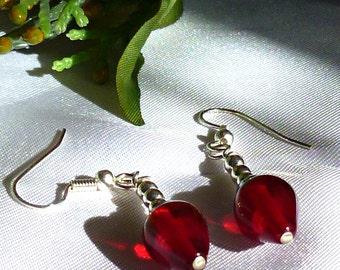 Red Christmas Tree Bulb dangle earrings lampwork
