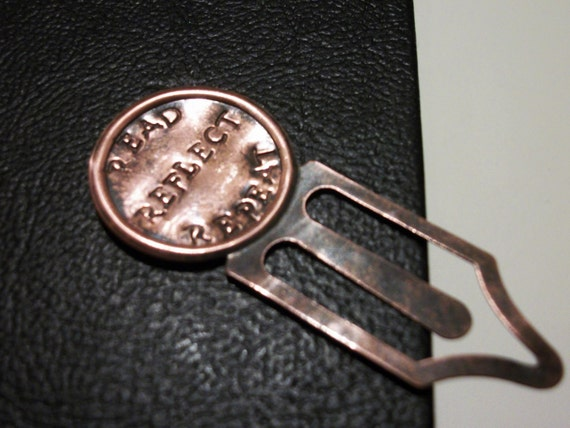 Personalized Clip Bookmark-Circle, Metal Message in Rustic Antique Copper