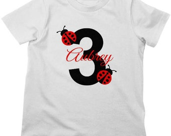Ladybug Birthday Shirt or Bodysuit - Personalized Birthday Shirt with child's age