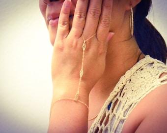 Gold Filled Ring Bracelet, Gold Slave Bracelet/ Filigree Hand Chain Bracelet with Adjustable Size