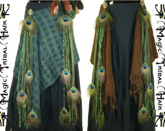 "PEACOCK Feather Tribal Fusion ""Forest Elf"" HIP COMBINATION Fantasy Larp Reenactment Belly Dance costume Wrap skirt 2 x yarn falls extensions"