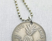 Coin Necklace - Bahamas PINEAPPLE necklace - Pineapple gift - fruit necklace - Carmen Miranda - coin jewelry - tropical fruit