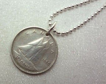Canadian Coin Necklace - Vintage silver Canadian dime - coin necklace - Blue Nose Schooner - Nova Scotia - silver coin necklace - Canadian