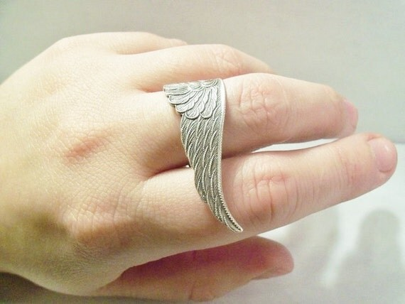 Silver Wing Ring - Gothic Guardian Angel Wing Ring - Large Wing Statement Ring