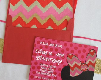 Minnie Mouse Party Invitations, Custom