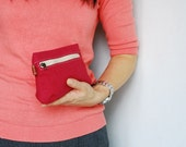 SALE 20% - Piggy Pouch in Cherry Red - Zipper Pocket / Purse / Wallet / clutch / cosmetic bag / iphone case / travel / Women