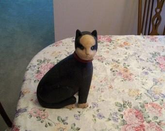 Vintage Wood Black Cat Primitive