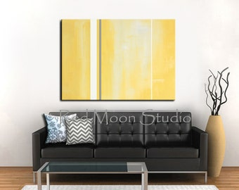 Yellow and Gray Abstract Painting, Yellow and Grey Abstract Art Large 48x36 - Original Abstract