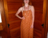 SALE--20% OFF Listing Price--Summer adjustable spaghetti strap dress, peach color, long, floral and paisley patterned--Size Med