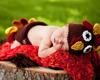 PDF Turkey Hat and Diaper Cover Set Crochet Pattern Newborn Photo Prop Fall Autumn Thanksgiving Lil Gobbler Newborn 3 Months