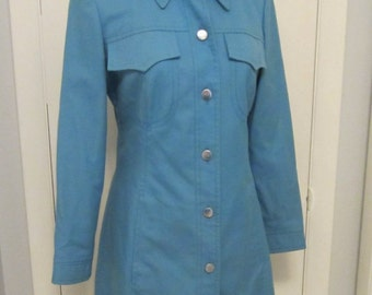 Vintage 1960s Lightweight  Coat or Coat Dress Sky Blue Mod  A-Line Cut- Small