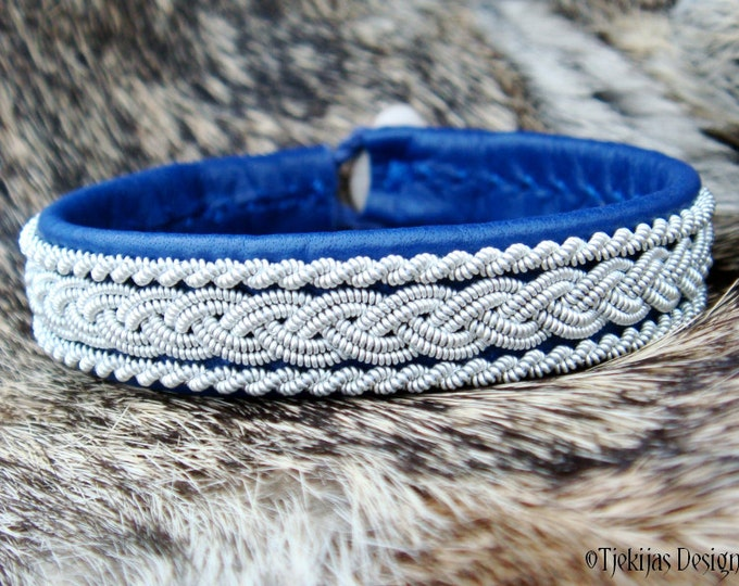 Lapland Reindeer Bracelet Cuff MJOLNIR Viking Jewelry in Blue Leather, Pewter Thread and Carved Antler - Handcrafted Tribal Elegance