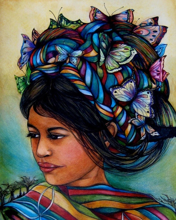 woman with butterflies from Guatemala art print