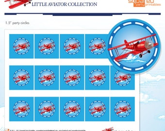 """LIttle Aviator Printable Birthday 1.5"""" Party Circles - Red and Blue - DIY Print - Airplane Party Cupcake Toppers- Instant Download"""
