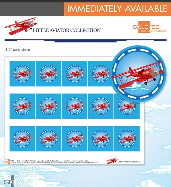 "Printable Vintage Airplane Party Collection Diy By: LIttle Aviator Printable Birthday 1.5"" Party Circles"
