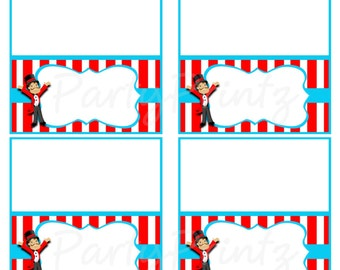 INSTANT DOWNLOAD - Circus Carnival - Food / Place Cards / Favor Tags