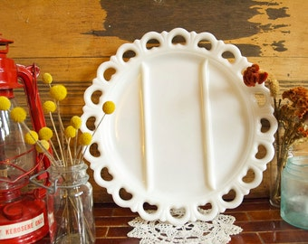Vintage Lace Milk Glass Large Platter