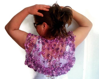 Handmade knitted lilac shrug,bolero,cardigan  ready to ship S,M gift