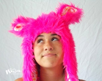 Fuzzy Monster Aviator hat, Pink BLACKLIGHT hat Plushie,  pink Kawaii robots lining, UV Reactive fur, earflap hat, raverwear