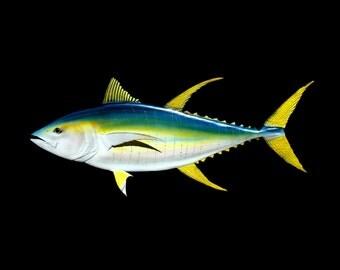 YELLOWFIN TUNA fish wood carving, 46'' fish art, trophy fish, sport fish art, wooden game fish, fishing art, fishing gift, 46 inch