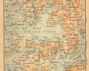 Norway Antique Map  Ytre Hardanger 1898 Baedeker