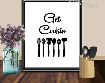 Kitchen Art, Get Cookin, Kitchen wall decor, Kitchen Utensils Print, Kitchen Quote