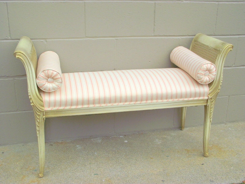 French provincial louis style carved wood bench caned chaise for Chaise style louis xiv