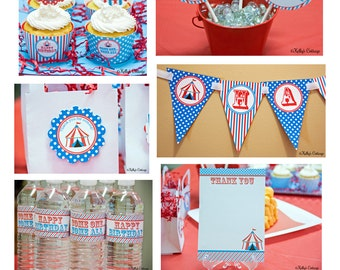 Circus Birthday Party Ready To Go Package, Instant Download, Printable DIY Package