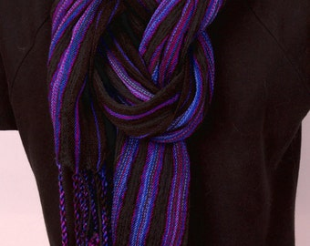 Hand woven striped scarf in black and blues/purples