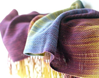 Wedding gift, handwoven scarf, women wrap, pashmina scarf, gradient color mustard, purple blue gold, long women scarf with fringe