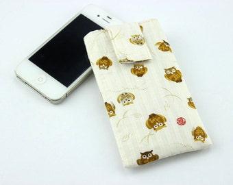 SALE Cute Owils iphone 5 sleeves, Unique Gift Idea, Japanese Kimono Cotton Fabric White