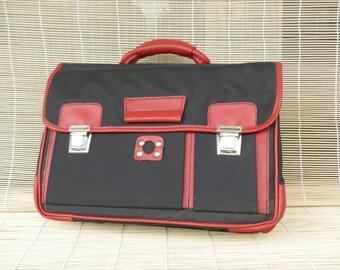 Vintage 1980s Dark Blue Textile Faux Red Leather Satchel Hand Bag Briefcase