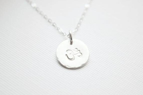 Dainty Silver OM Necklace - Sterling Silver Ohm Necklace | Yoga Jewelry Namaste | Disc Pendant Necklace | Meditation Charm Necklace