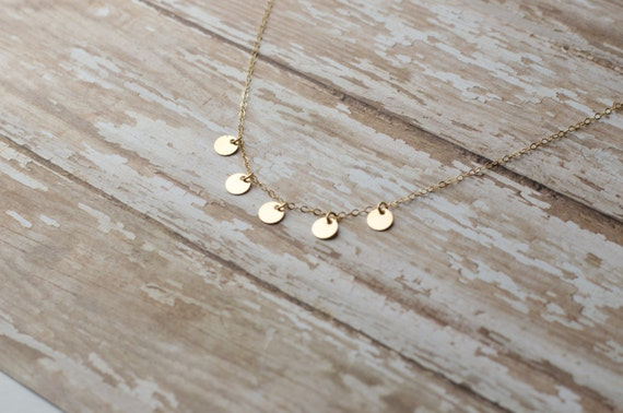 Simple Gold Coin Necklace | Dainty Gold Coin Choker | Dainty Coin Necklace | Dainty Gold Choker Necklace | Gold Choker | Gold Coin Charms